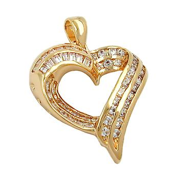 gold-plated heart pendant heart pendant heart gold plated 3 Micron with cubic zirconia