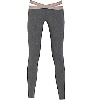 Emporio Armani Women Cut Out Detail Leggings, Dark Grey Melange, X-Large