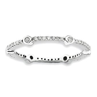 2.5mm 925 Sterling Silver Bezel Prong set Rhodium plated Stackable Expressions Polished Diamond Ring Jewelry Gifts for W