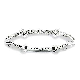 2,5 mm 925 Sterling Silber Lünette Prong Set Rhodium vergoldet stapelbare Ausdrücke poliert Diamant Ring Schmuck Geschenke für W