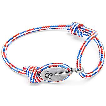 Anchor and Crew London Silver and Rope Bracelet - Red/White/Blue