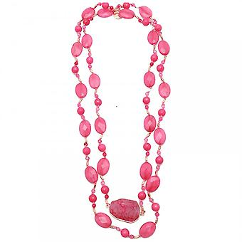 Bcharmd Quartzite Agate Long Pink Necklace