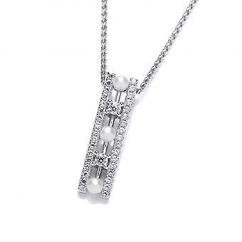 Cavendish French Art Deco Style CZ and Freshwater Pearl Pendant without Chain