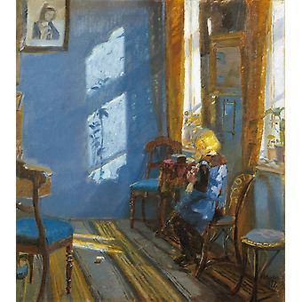 أشعة الشمس في الغرفة الزرقاء، آنا Ancher.60x50cm