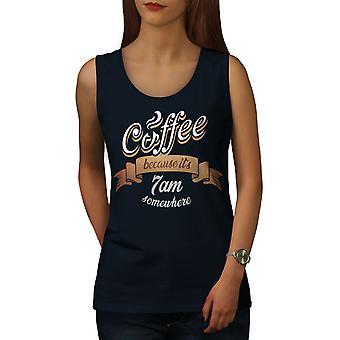 Coffee Addict Funny Women NavyTank Top   Wellcoda