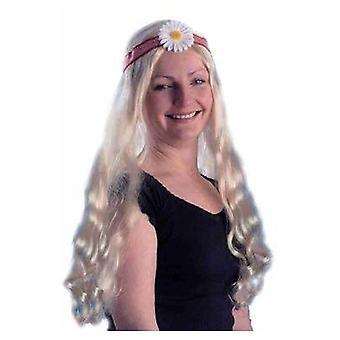 Hippy Lady Wig.Blonde/Flower.