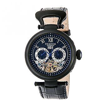 Heritor Automatic Ganzi Semi-Skeleton Leather-Band Watch - Black