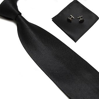 Costume Accessories | Tie + handkerchief + cufflinks-Black