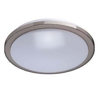 Glasberg - Shiny Grey LED Round LED Flush Ceiling Light With White Diffuser 674012601