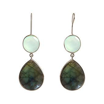 Gemshine Earrings Labradorite and Chalcedony Drop 925 Silver or Gilded