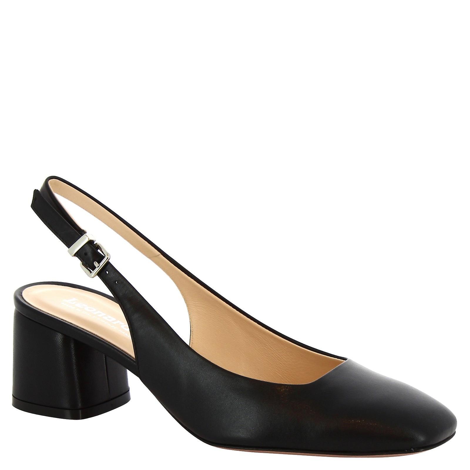 Leonardo Shoes Women's handmade slingback pumps shoes in black calf leather PLNOb