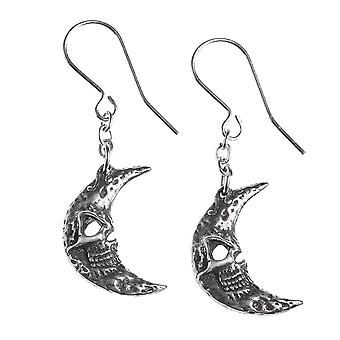 Alchemy Gothic Crescent Tragic Moon Dangle Pewter Ohrringe