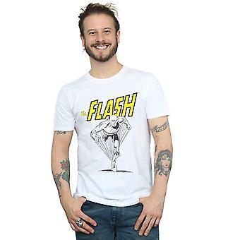 DC Comics Men's The Flash Mono Action Pose T-Shirt