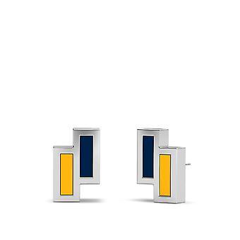 Buffalo Sabres Sterling Silver Asymmetrisk emalj örhängen i blått och gult