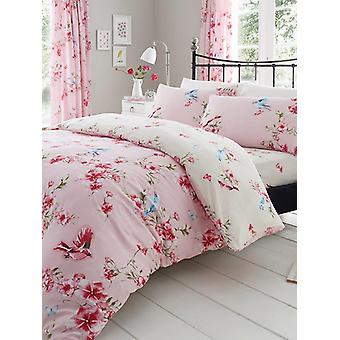 Birdie Blossom Floral Duvet Cover and Pillowcase Set