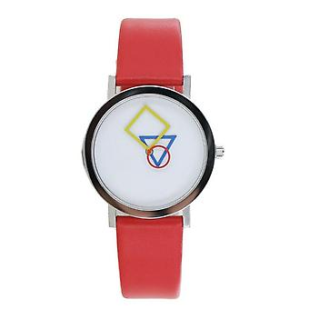 Aristo Bauhaus Ladies Watch Stainless Steel 4D85R Leather Red