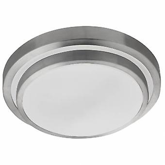 Led Bathroom Ceiling Flush Light Brushed Aluminium Ip44