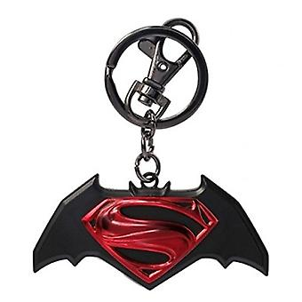 Metal Key Chain - Superman v Batman - Logo Colored New Toys Licensed 45421