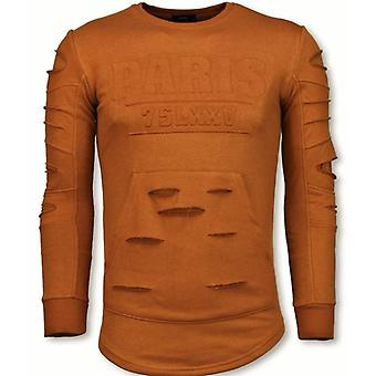 3D Stamp PARIS Sweater-Damaged Sweatshirt-orange