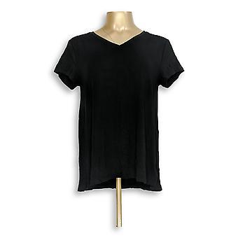 H by Halston Women's Top Essentials V-Neck Forward Black A306231 #1
