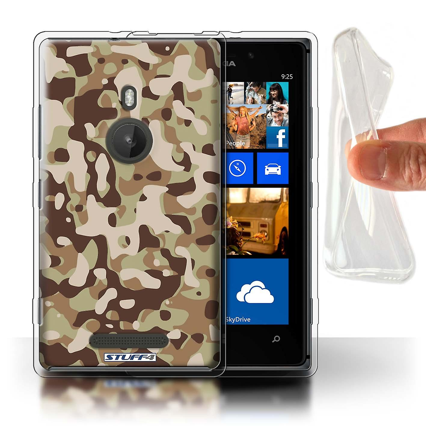 STUFF4 Gel TPU Case/Cover for Nokia Lumia 925/Brown 3/Camouflage Army Navy