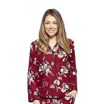 Cyberjammies 4268 Women's Alice Burgundy Red Mix Floral Cotton Pyjama Top