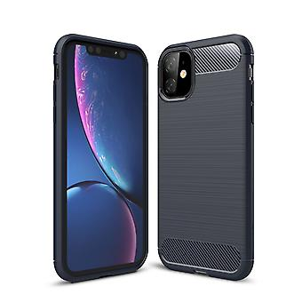 Apple iPhone 11 Pro Max TPU Case Carbon Fiber Optics geborsteld beschermende case blauw