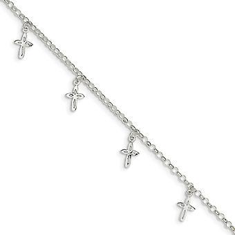 925 Sterling Silber poliert Hummer Kralle Verschluss religiösen Glauben Kreuz Fußkettchen 9 Zoll Schmuck Geschenke für Frauen