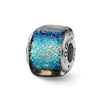 925 Plata de ley acabado antiguo Reflejos azul dichroico vidrio cuadrado perla encanto