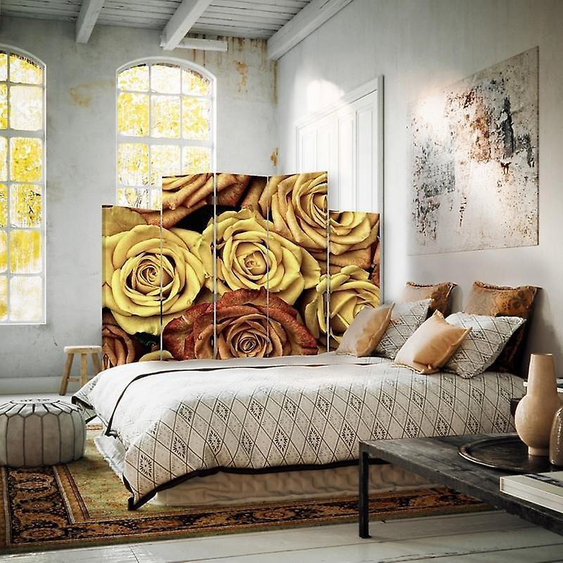 Diviseur de pièce décorative, 5 panneaux, double-sided, toile rotative de 360 , thé de roses 2