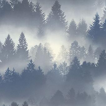 Barbara Becker Misty Forest Fond d'écran - Bleu - Rasch 860832