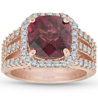 4.25Ct Garnet Diamond Cushion Halo Multi Row Ring 14k Rose Gold Size5.5 9.2grams