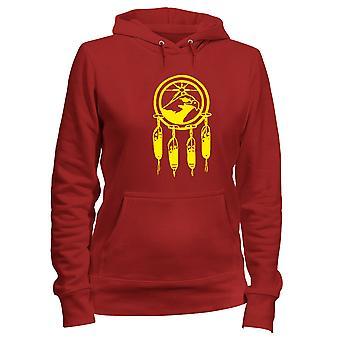 Felpa donna cappuccio rosso fun4112 tribal dream catcher indian