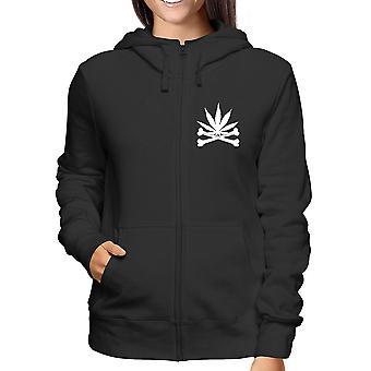 Felpa cappuccio e zip donna nero fun4217 weed leaf with crossbones