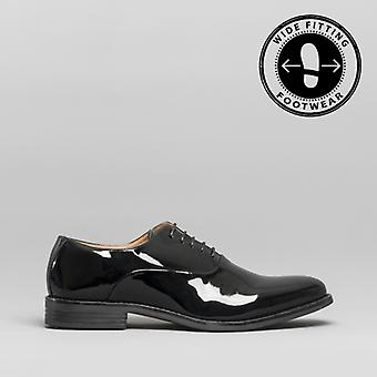 Blakeseys William Mens Wide Fit Oxford Shoes Patent Black