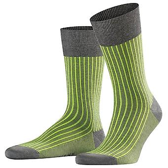 Falke Oxford Stripe Socks - Steel Melange Grey/Green