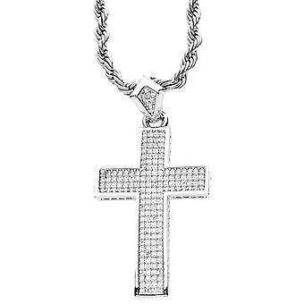 Iced Out Bling Micro Pave Anhänger - KREUZ silber