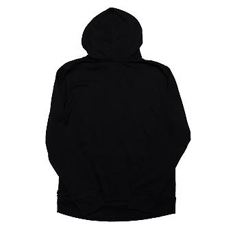Junior Boys Converse Stacked Wordmark Fleece Hoody In Black- Ribbed Cuffs And