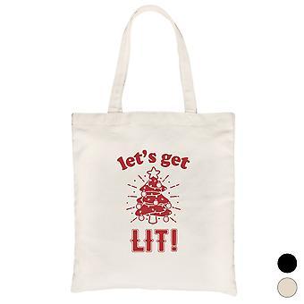Get Lit Christmas Tree Funny Canvas Bag X-mas Gift