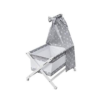 Cangaroo Baby Cradle Cassy Beech Grey, Mattress, Blanket, Pillow Cover, Sky, Wheels