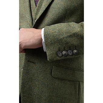 Moon Mens Green Twill Tweed Suit Jacket Regular Fit 100% Wool
