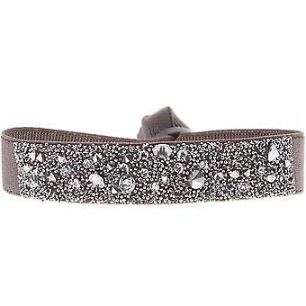 Bracelet Les Interchangeables A36981 - Bracelet Tissu Marron Cristaux Swarovski Femme