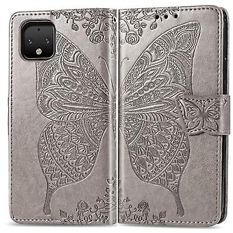 For Google Pixel 4 Case Butterfly Love Flowers Wallet Protective Cover Grey