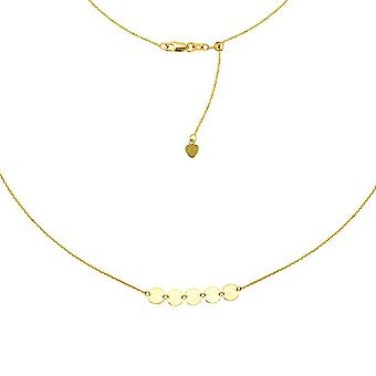 14k Yellow Gold 5 Mini Disc Choker Adjustable Necklace 16 Inch Jewelry Gifts for Women - 2.7 Grams