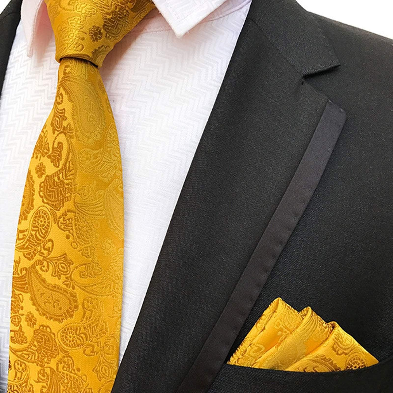 Mustard yellow solid wedding pocket square & tie set