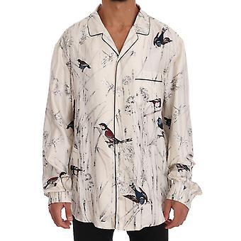 دولتشي وغابانا الأبيض طباعة الطيور الحرير بيجامة قميص