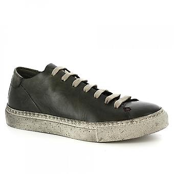 Leonardo Shoes Men's handmade sneakers shoes in green incense calf leather