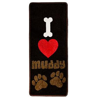 Pet Rebellion 45x100 Mat I Love Muddy Paws (Dogs , Bowls, Feeders & Water Dispensers)