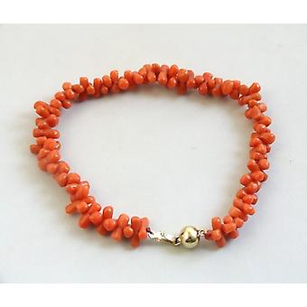 Christian Blood Coral Bracelet with Gold Lock