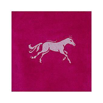 Vossen 170285-377 Girl's Kids Pony Cranberry Cotton Dressing Gown Robe